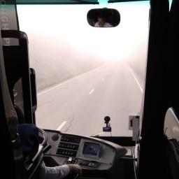 Автобус Соликамск-Пермь. Туман как в аду :) #vsolikamske