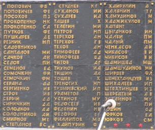 Табличка на мемориале умершим от ран в годы ВОВ
