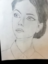 Девушка карандашом